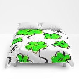 Green Flower Design Comforters