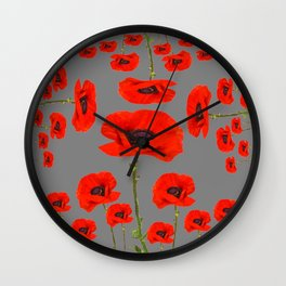 GREY MODERN RED-ORANGE POPPIES  PATTERN DESIGN Wall Clock