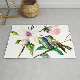 Hummingbird and Magnolia Flowers, Green Soft Pink floral design vintage style Rug
