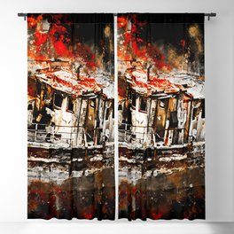 old ship boat wreck ws std Blackout Curtain