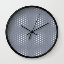 White dots on grey background Wall Clock