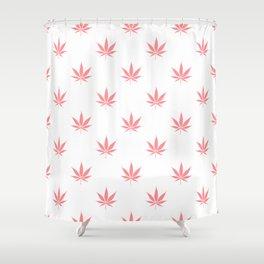 Peachy Cannabis Pot Leaf Pattern Shower Curtain