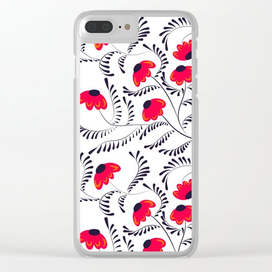 The floral pattern . Red flowers with black leaves . Clear iPhone Case