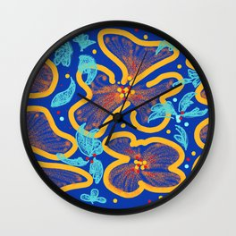 Summer Color Palette Classic Blue Flame Scarlet Saffron and Biscay Green Wall Clock