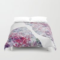 liverpool Duvet Covers featuring Liverpool map by MapMapMaps.Watercolors