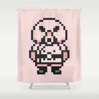 earthbound Shower Curtains featuring Pigmask - Mother 3 / Earthbound 2 by Studio Momo╰༼ ಠ益ಠ ༽