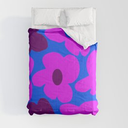 Large Pink and Purple Retro Flowers Blue Background #decor #society6 #buyart Comforters