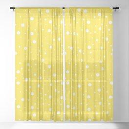 Yellow Polka Dots 4 Sheer Curtain