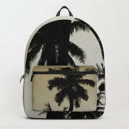 Tropical palm trees on yellow Backpack