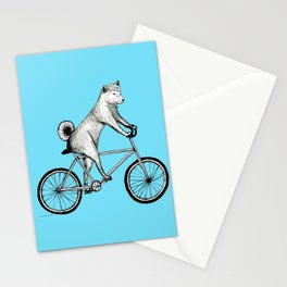 Shiba Inu Riding a Bicycle Stationery Cards