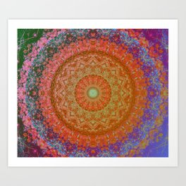 Mandala Glitch Solar Art Print