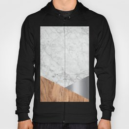 White Marble Wood & Silver #157 Hoody