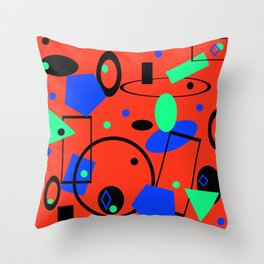 Retro abstract red print Throw Pillow