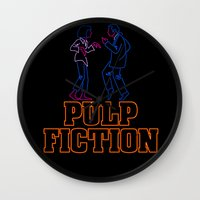 pulp fiction Wall Clocks featuring Pulp Fiction by Studio 401