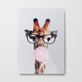 GIRAFFE WEARING GLASSES BLOWING A PINK BUBBLEGUM Metal Print