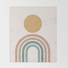 Mid-Century Modern Rainbow Throw Blanket