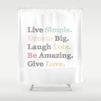 calendars Shower Curtains featuring Inspiration Typography Quote Words Pastel  by Shabby Studios Design & Illustrations ..