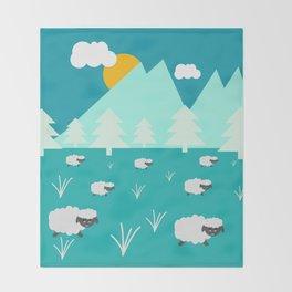 Grazing sheep Throw Blanket
