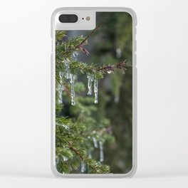 Leafy Icicle Bokeh Clear iPhone Case