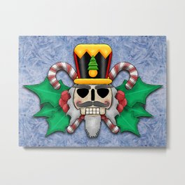 Nutcracker Skull on Wintery Frosted Background Metal Print