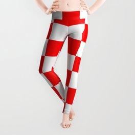 Checkered - White and Red Leggings