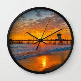 Painted Sky Over Huntington Beach Pier. Wall Clock