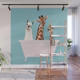 Playful Gangs in Bathtub Blue Wall Mural