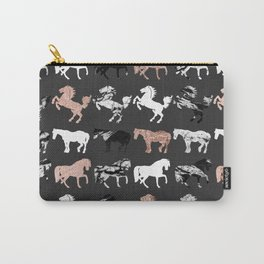 Rose Gold and Black and White Marble Modern Horses Carry-All Pouch