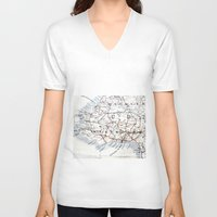jamaica V-neck T-shirts featuring Map Section: Jamaica by Shaunia McKenzie
