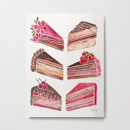 Cake Slices – Pink & Brown Palette Metal Print