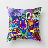 psychadelic Throw Pillows featuring Abstract 18 by Linda Tomei