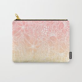 Spring summer fruity pink lemon yellow gradient floral illustration pattern Carry-All Pouch