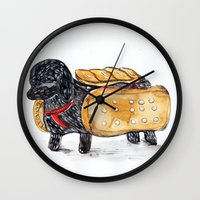 hot dog Wall Clocks featuring Hot Dog by Mandarin Duck Craft