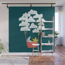 Hot cloud baloon - moon and star Wall Mural