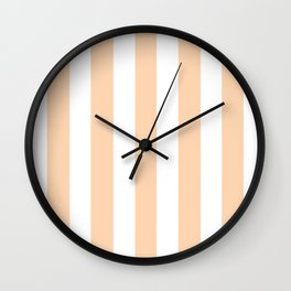Light apricot pink - solid color - white vertical lines pattern Wall Clock