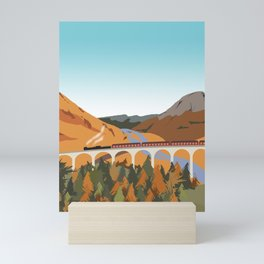 Train on the Glenfinnan Viaduct, Scottish Highlands, Scotland Mini Art Print
