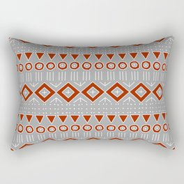 Mudcloth Style 2 in Red on Gray Rectangular Pillow