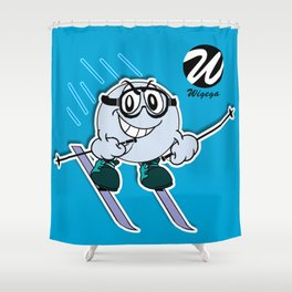 Snow Skier Cartoon Character with Goggles Shower Curtain