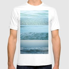 Water Study abstract blue waves Mens Fitted Tee White MEDIUM