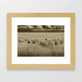 Sepia Toned Straw Hay Bales in a Summer Harvest Field Framed Art Print