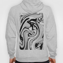 Black, White and Gray Graphic Paint Swirl Pattern Effect Hoody