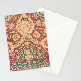 Peonies Kashan I // 16th Century Distressed Colorful Red Tan Light Blue Ornate Accent Rug Pattern Stationery Cards