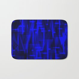 Bright dark blue highlights on marine triangles and metal stripes. Bath Mat
