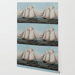 Vintage Schooner Sailboat Illustration (1887) Wallpaper