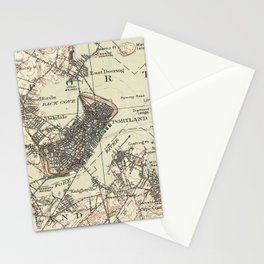 Vintage Map of Portland Maine (1914) Stationery Cards
