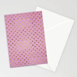 Gold Hearts Passion Pink Stationery Cards