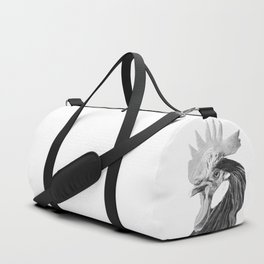 Black and White Rooster Duffle Bag