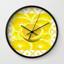 Yellow Grapefruit Pattern Art Wall Clock