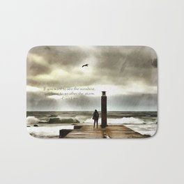The girl in the storm, Cascais (Portugal) Bath Mat