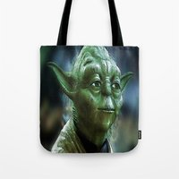 yoda Tote Bags featuring Yoda by Robin Curtiss